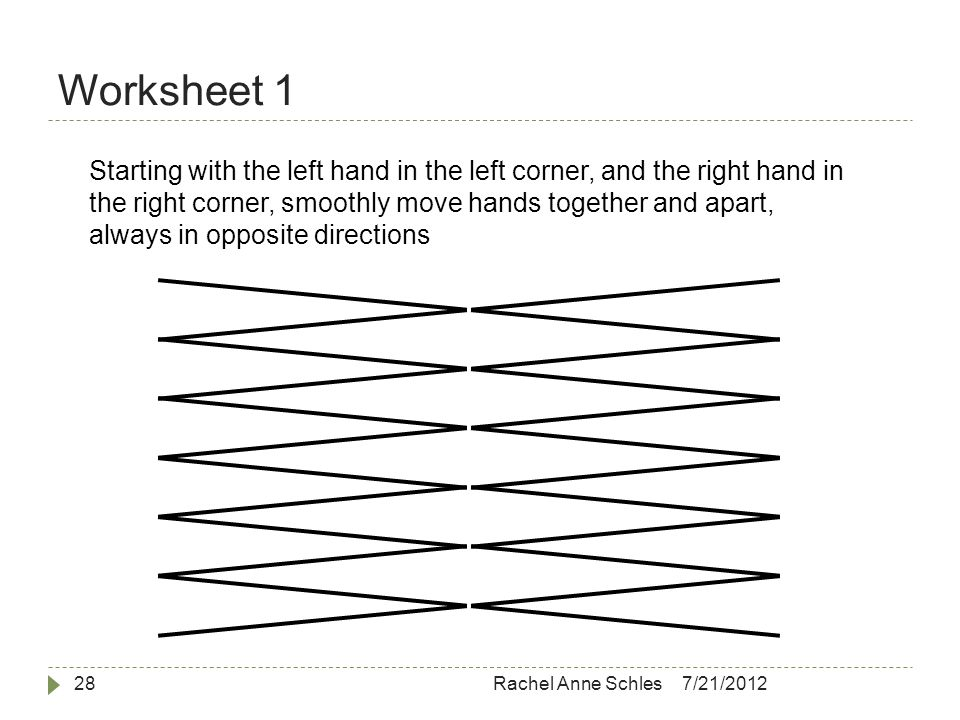 Worksheet 1 7/21/2012Rachel Anne Schles28 Starting with the left hand in the left corner, and the right hand in the right corner, smoothly move hands together and apart, always in opposite directions