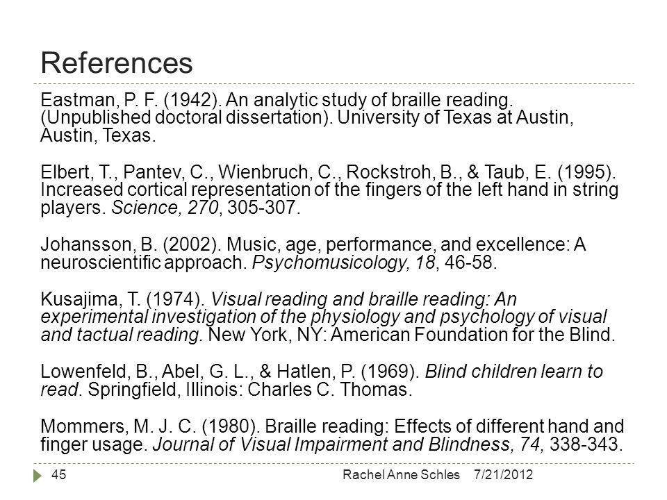 References 7/21/2012Rachel Anne Schles45 Eastman, P.