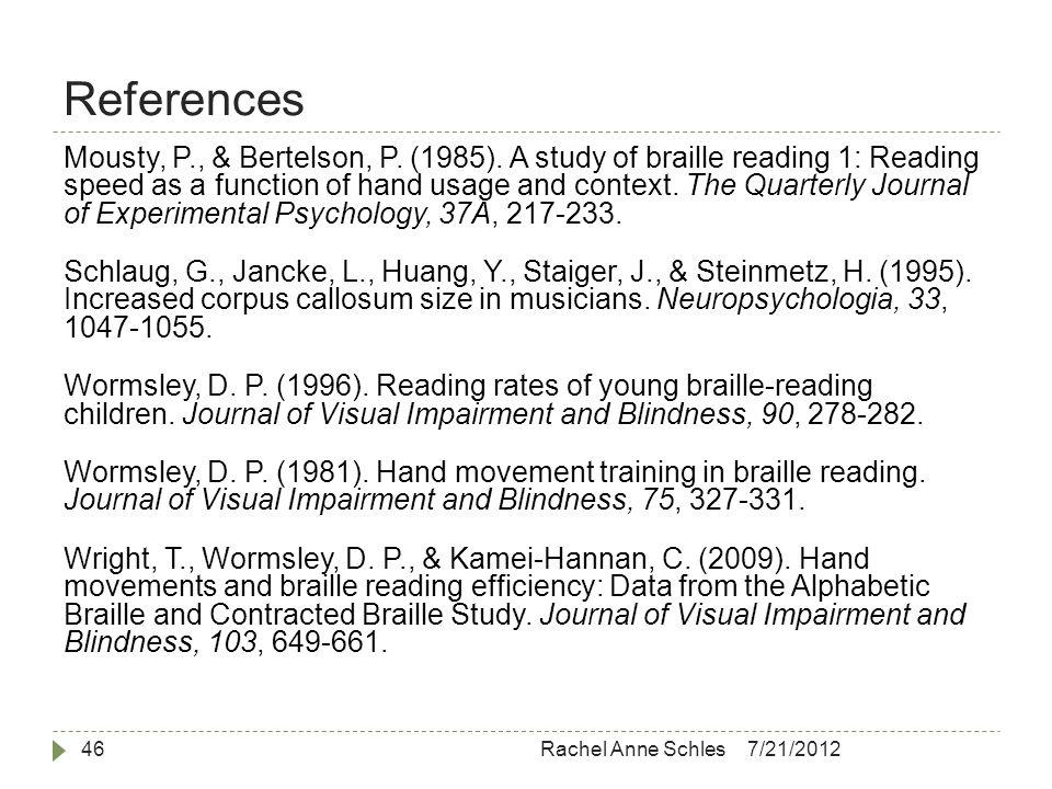 References 7/21/2012Rachel Anne Schles46 Mousty, P., & Bertelson, P.