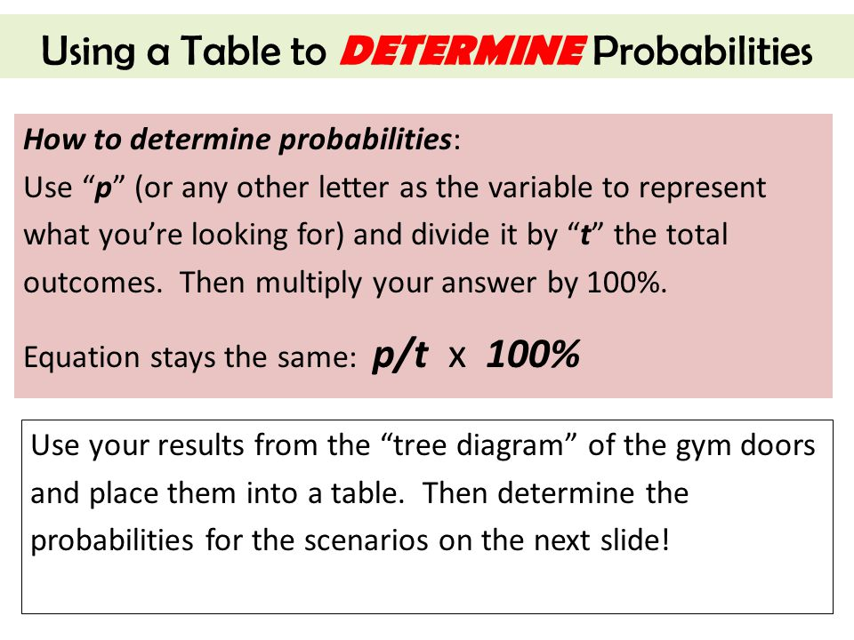 "Using a Table to DETERMINE Probabilities How to determine probabilities: Use ""p"" (or any other letter as the variable to represent what you're looking"