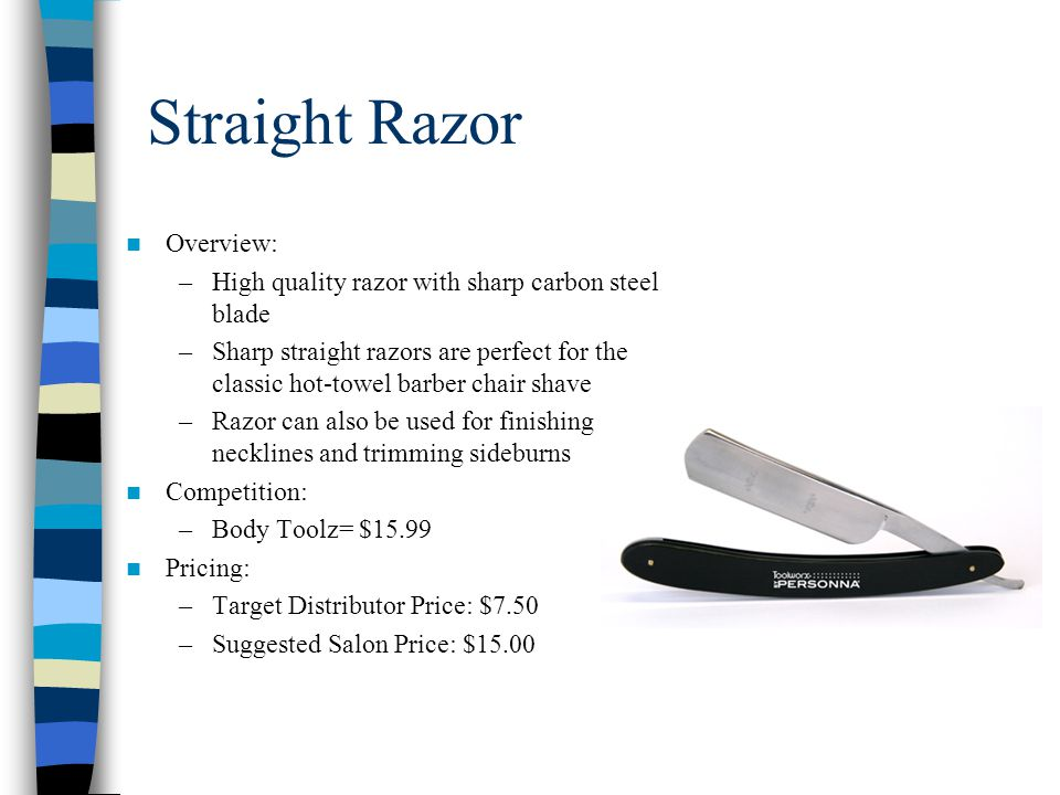 Straight Razor Overview: –High quality razor with sharp carbon steel blade –Sharp straight razors are perfect for the classic hot-towel barber chair s