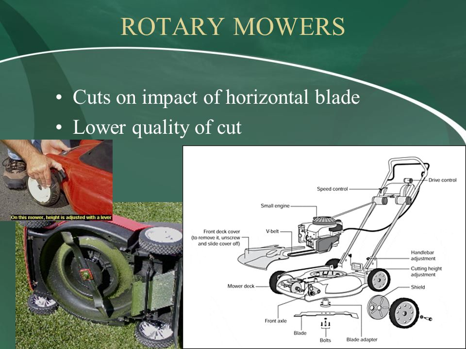 ROTARY MOWERS Cuts on impact of horizontal blade Lower quality of cut