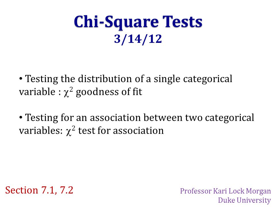Chi-Square Tests 3/14/12 Testing the distribution of a single categorical variable :  2 goodness of fit Testing for an association between two categorical variables:  2 test for association Section 7.1, 7.2 Professor Kari Lock Morgan Duke University