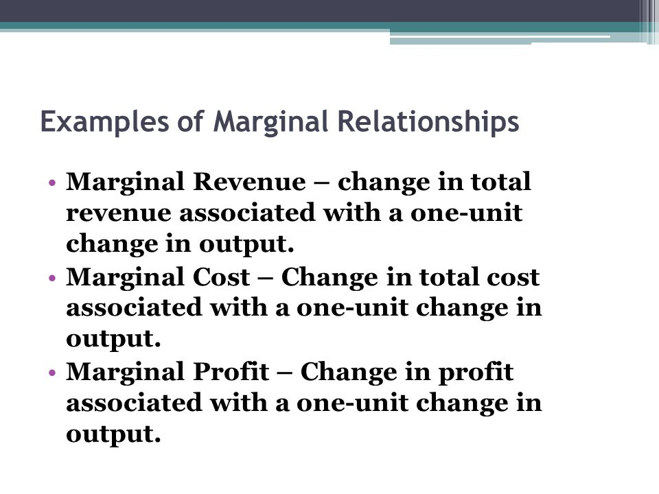Examples of Marginal Relationships Marginal Revenue – change in total revenue associated with a one-unit change in output. Marginal Cost – Change in t