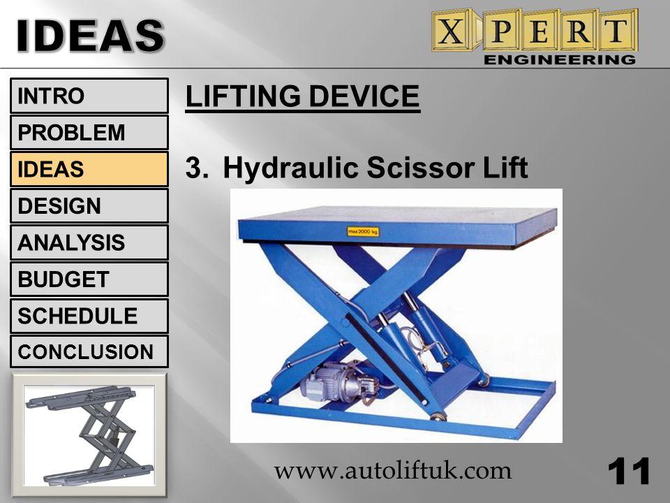 LIFTING DEVICE 3.Hydraulic Scissor Lift 11 INTRO DESIGN ANALYSIS BUDGET SCHEDULE CONCLUSION IDEAS PROBLEM www.autoliftuk.com