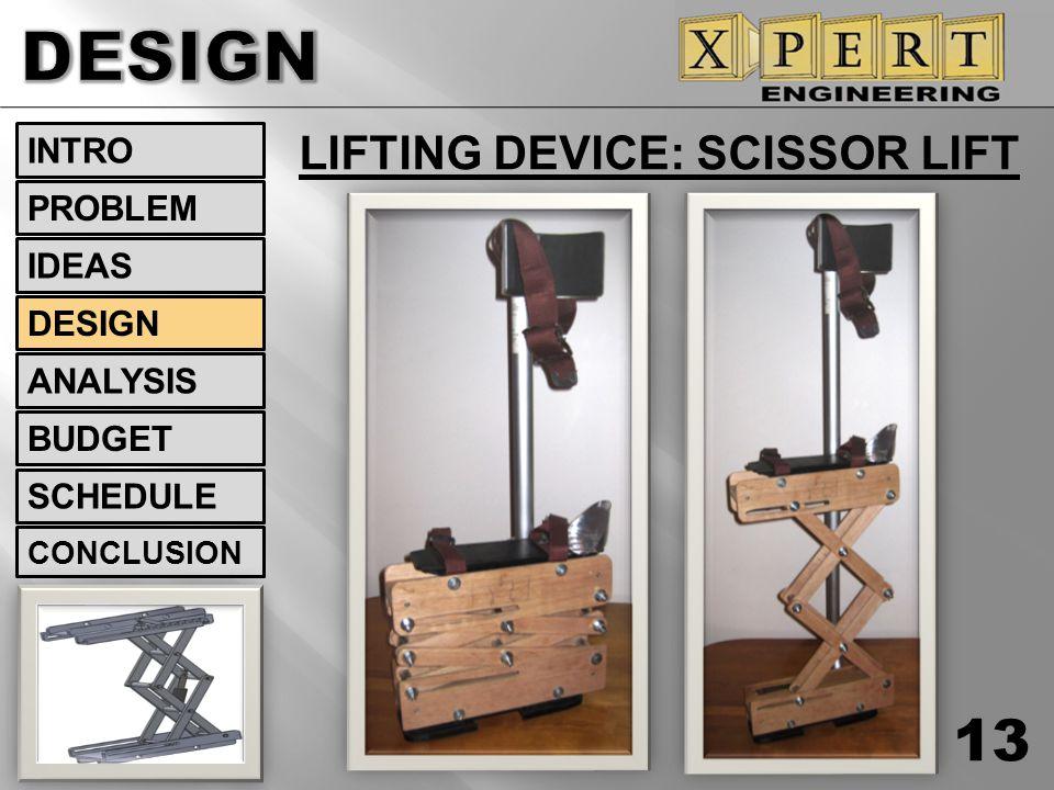 LIFTING DEVICE: SCISSOR LIFT 13 INTRO DESIGN ANALYSIS BUDGET SCHEDULE CONCLUSION IDEAS PROBLEM