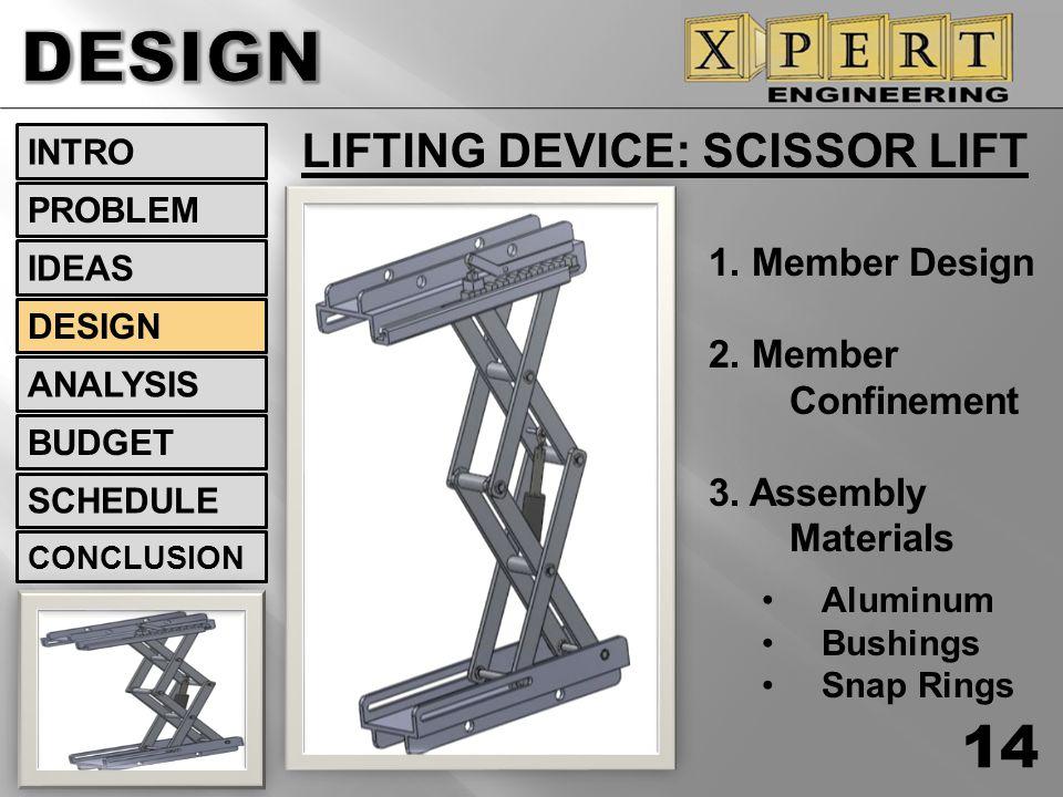 LIFTING DEVICE: SCISSOR LIFT 14 INTRO DESIGN ANALYSIS BUDGET SCHEDULE CONCLUSION IDEAS PROBLEM 1. Member Design 2. Member Confinement 3. Assembly Mate