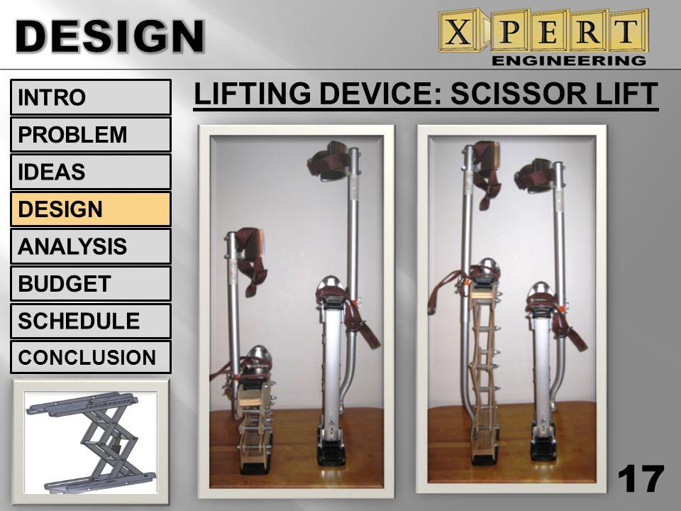 LIFTING DEVICE: SCISSOR LIFT 17 INTRO DESIGN ANALYSIS BUDGET SCHEDULE CONCLUSION IDEAS PROBLEM