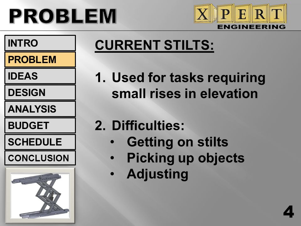 CURRENT STILTS: 1.Used for tasks requiring small rises in elevation 2.Difficulties: Getting on stilts Picking up objects Adjusting INTRO IDEAS PROBLEM