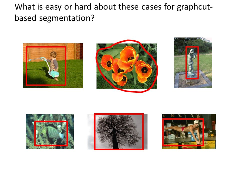 What is easy or hard about these cases for graphcut- based segmentation