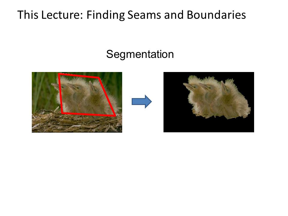 This Lecture: Finding Seams and Boundaries Segmentation