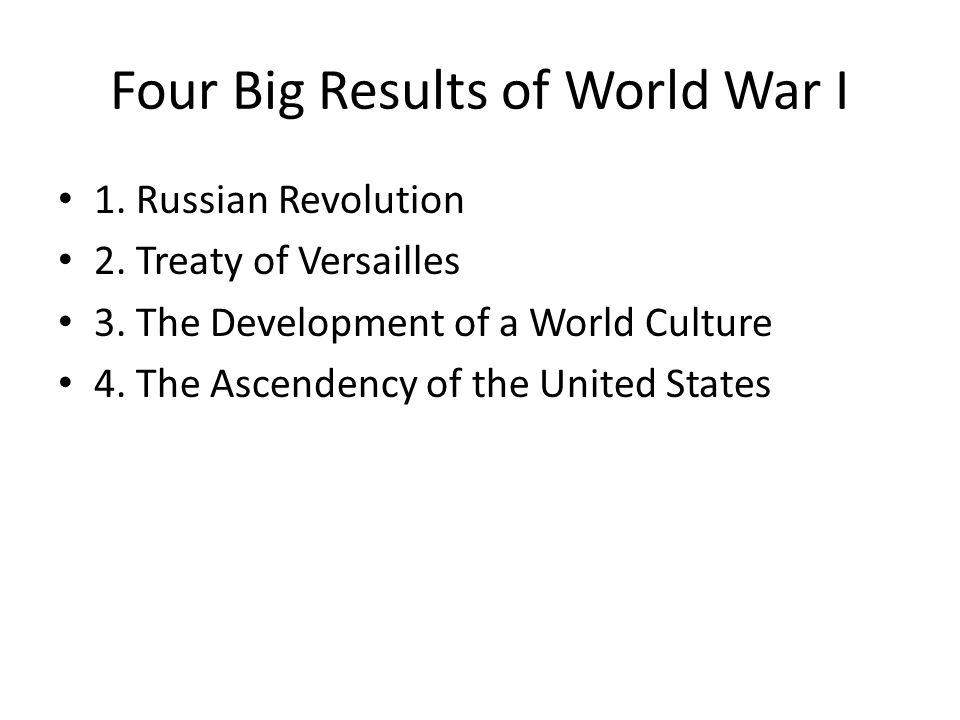 Four Big Results of World War I 1. Russian Revolution 2.