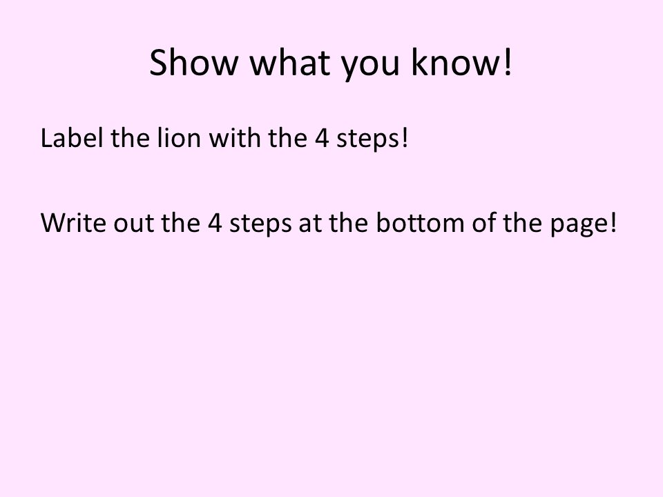 Show what you know. Label the lion with the 4 steps.