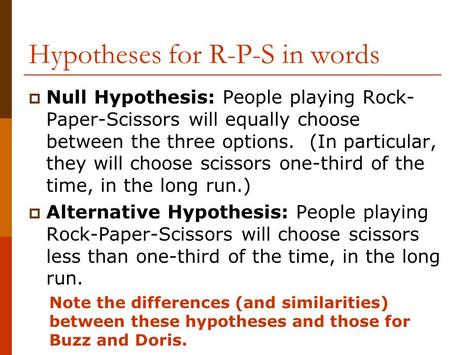 Hypotheses for R-P-S in words  Null Hypothesis: People playing Rock- Paper-Scissors will equally choose between the three options.
