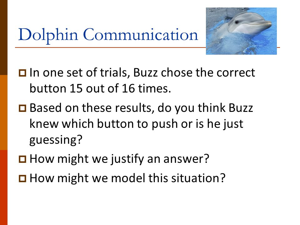 Dolphin Communication  In one set of trials, Buzz chose the correct button 15 out of 16 times.