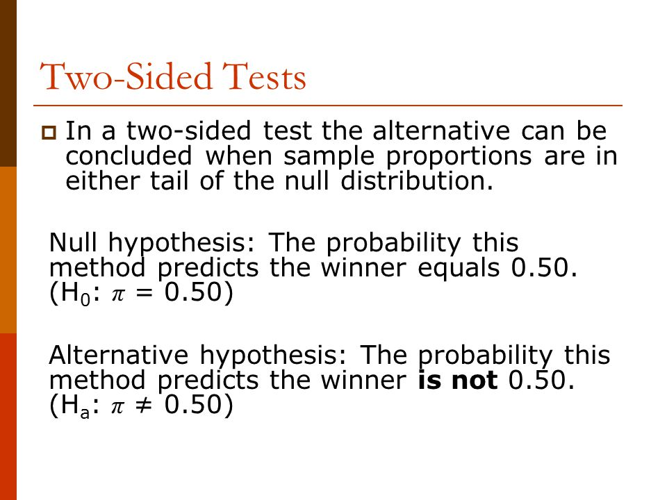 In a two-sided test the alternative can be concluded when sample proportions are in either tail of the null distribution.