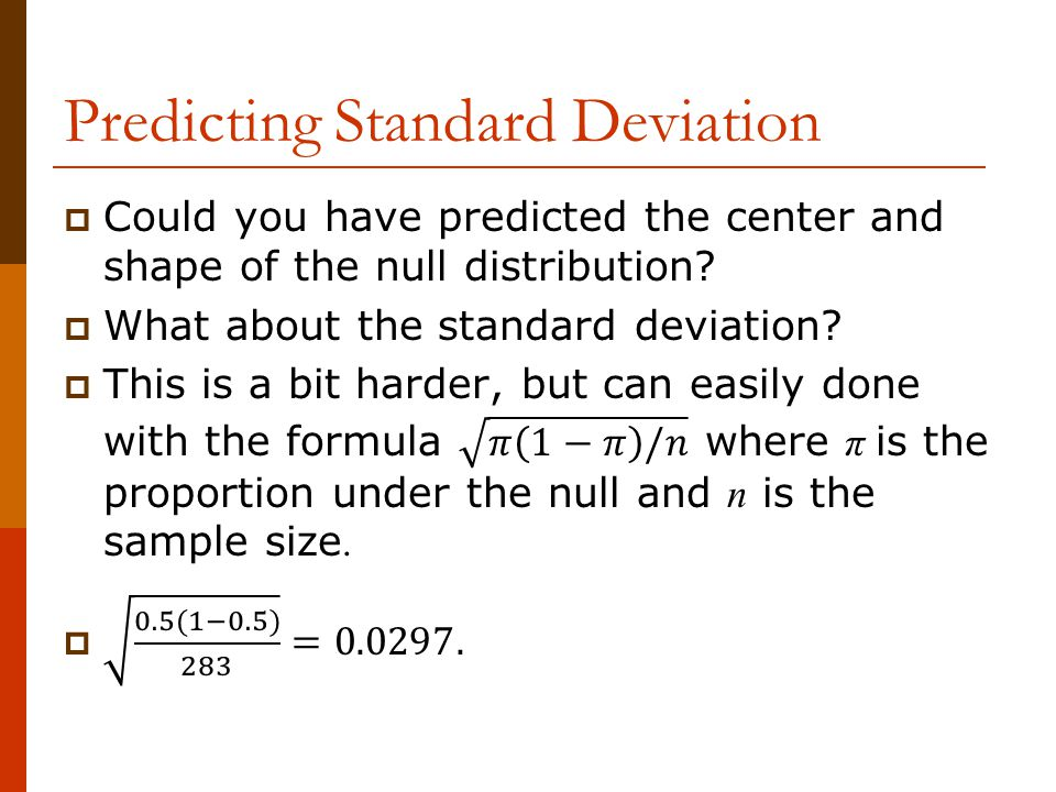 Predicting Standard Deviation