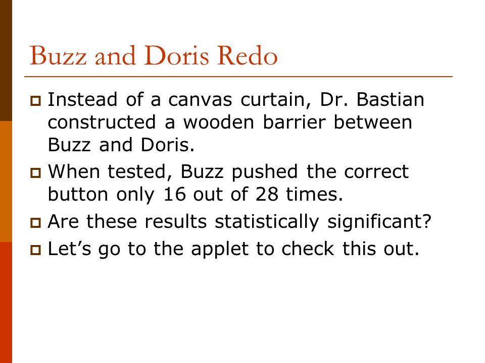 Buzz and Doris Redo  Instead of a canvas curtain, Dr.