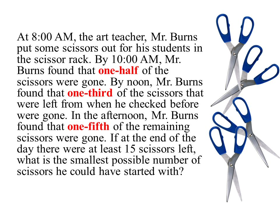 At 8:00 AM, the art teacher, Mr. Burns put some scissors out for his students in the scissor rack.