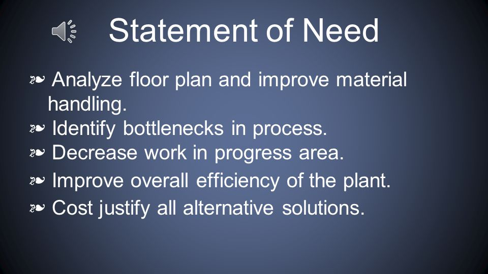 Statement of Need ❧ Analyze floor plan and improve material handling.