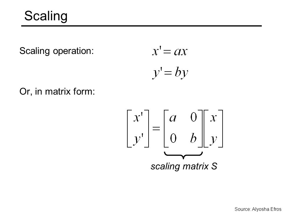 Scaling Scaling operation: Or, in matrix form: scaling matrix S Source: Alyosha Efros