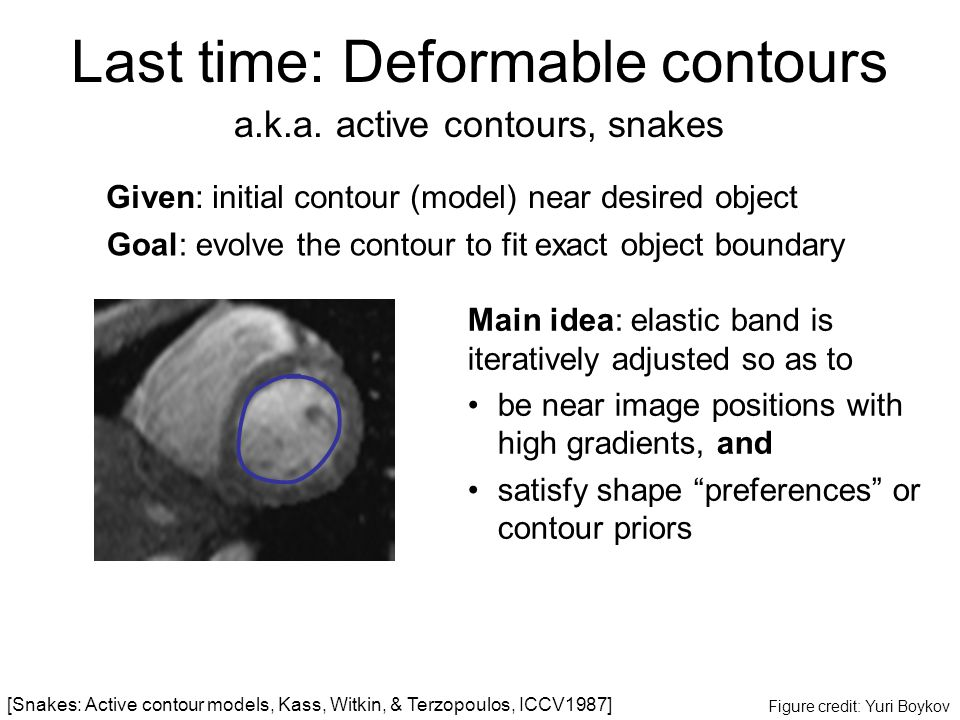 Given: initial contour (model) near desired object a.k.a. active contours, snakes Figure credit: Yuri Boykov Goal: evolve the contour to fit exact obj