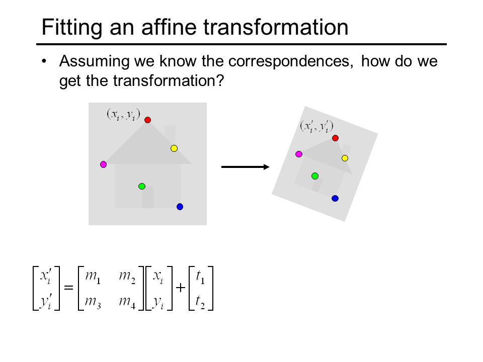 Fitting an affine transformation Assuming we know the correspondences, how do we get the transformation?