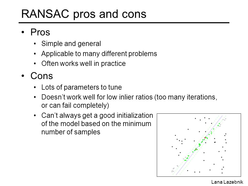 RANSAC pros and cons Pros Simple and general Applicable to many different problems Often works well in practice Cons Lots of parameters to tune Doesn't work well for low inlier ratios (too many iterations, or can fail completely) Can't always get a good initialization of the model based on the minimum number of samples Lana Lazebnik