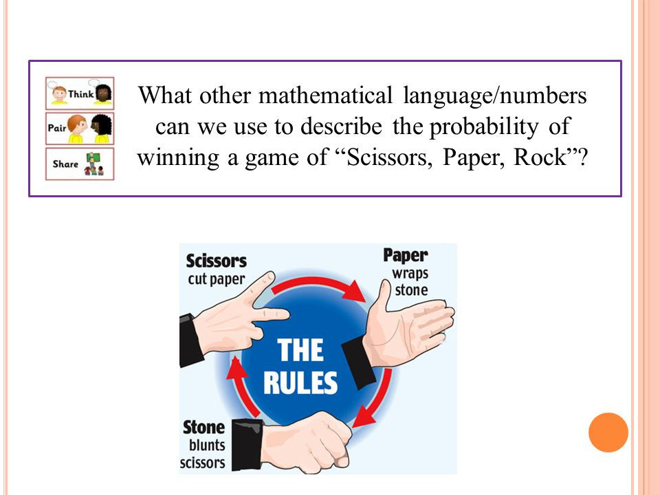What other mathematical language/numbers can we use to describe the probability of winning a game of Scissors, Paper, Rock
