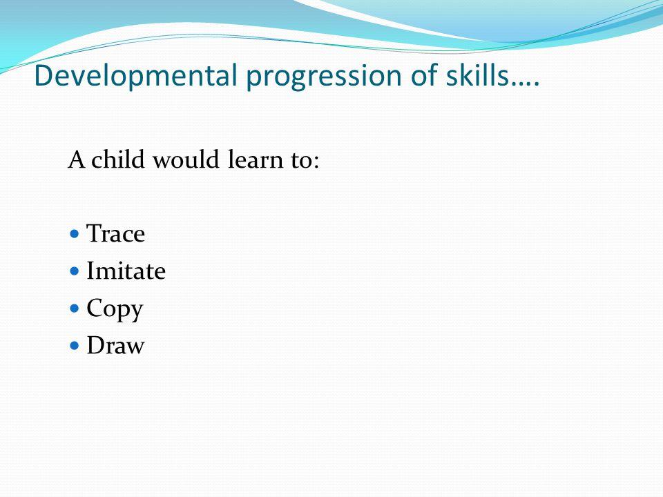 Developmental progression of skills…. A child would learn to: Trace Imitate Copy Draw