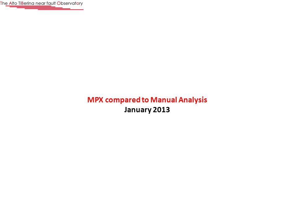 MPX compared to Manual Analysis January 2013
