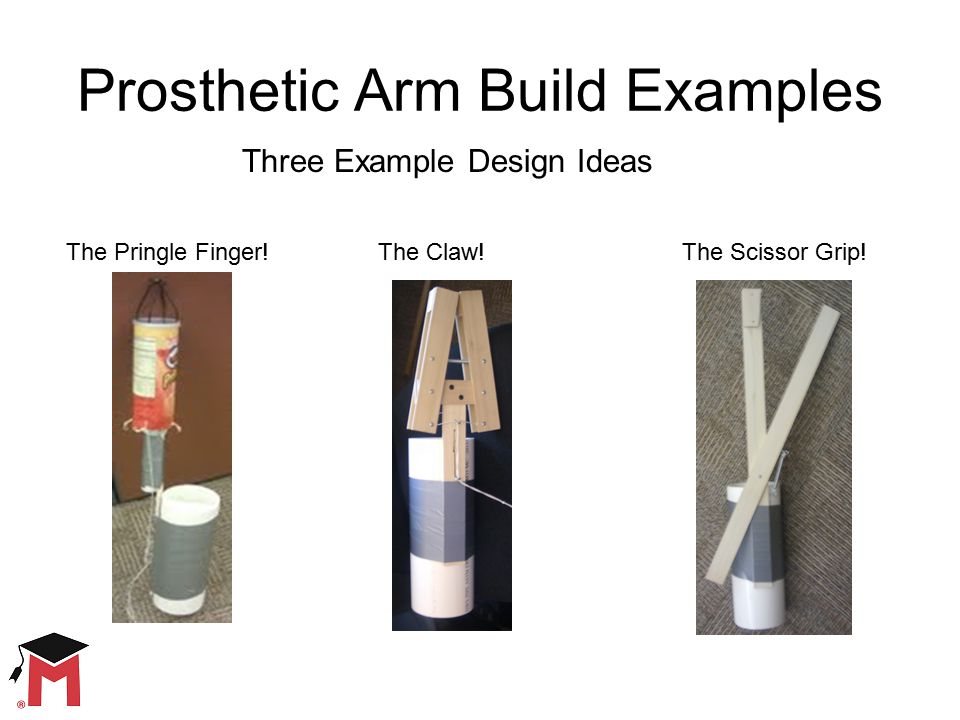 Prosthetic Arm Build Examples Add Photo Here Add Photo Here Three Example Design Ideas Add Photo Here The Claw!The Pringle Finger!The Scissor Grip!