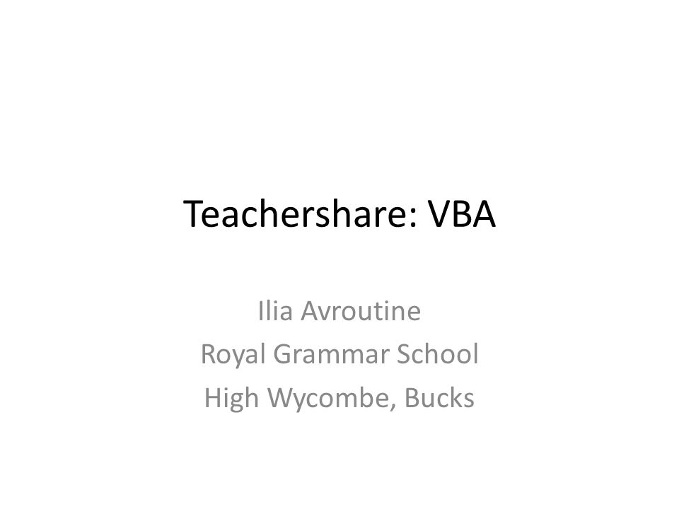 VBA objects: Workbooks Sheets Shapes Forms Ranges (cells) Any ActiveX object – from Quicktime video to Flash movie Use Macros to explore VBA objects