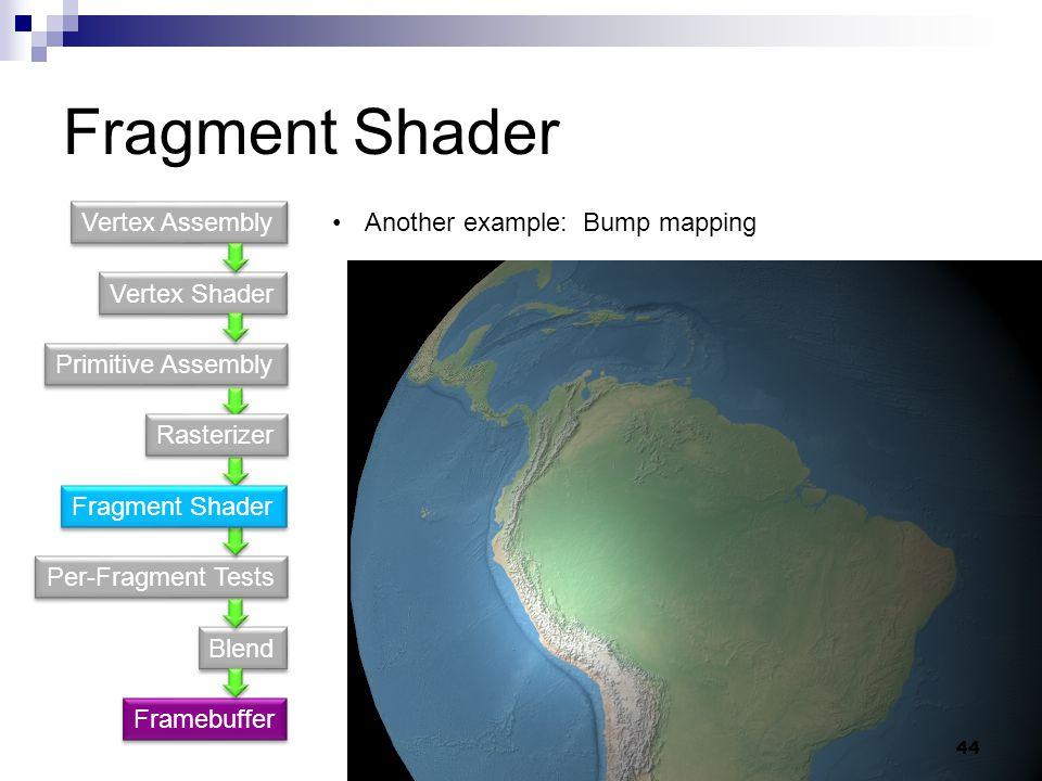 Fragment Shader Vertex Shader Primitive Assembly Per-Fragment Tests Blend Vertex Assembly Framebuffer Another example: Bump mapping Fragment Shader Rasterizer 44