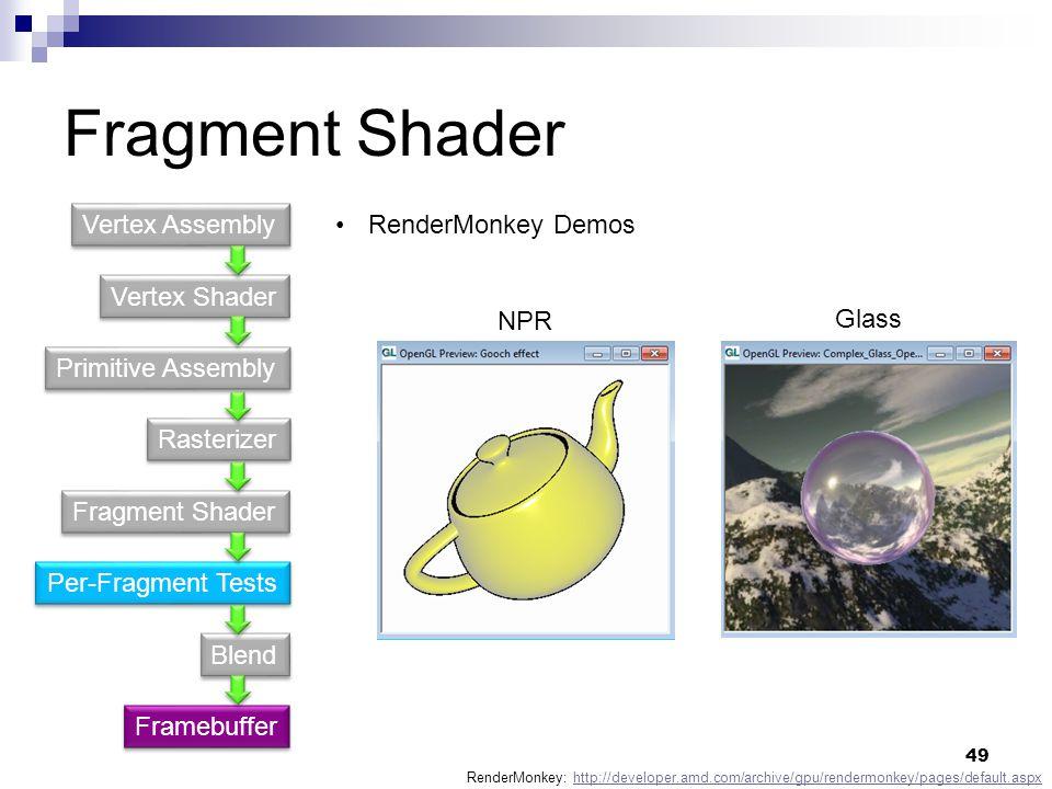 Fragment Shader RenderMonkey Demos RenderMonkey: http://developer.amd.com/archive/gpu/rendermonkey/pages/default.aspxhttp://developer.amd.com/archive/gpu/rendermonkey/pages/default.aspx NPR Glass Vertex Shader Primitive Assembly Fragment Shader Rasterizer Per-Fragment Tests Blend Vertex Assembly Framebuffer 49