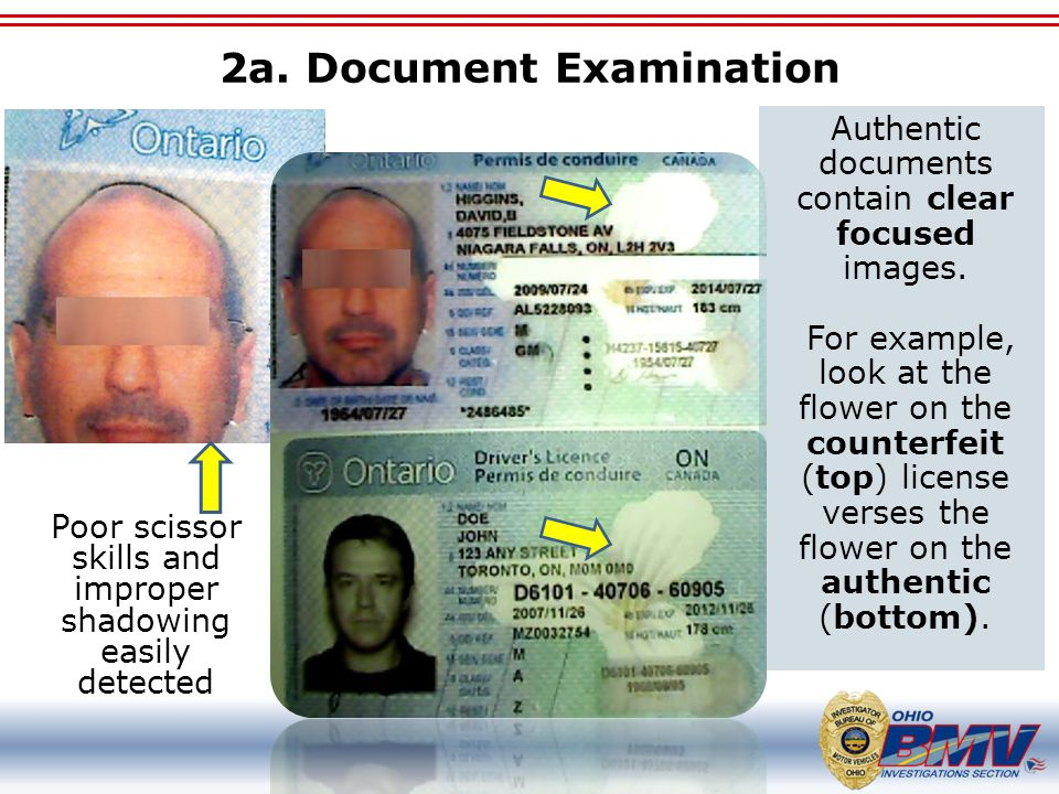 2a. Document Examination Poor scissor skills and improper shadowing easily detected Authentic documents contain clear focused images. For example, loo
