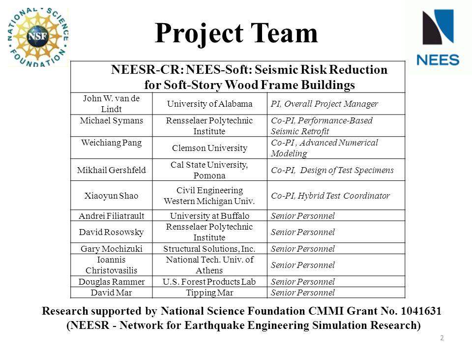 NEESR-CR: NEES-Soft: Seismic Risk Reduction for Soft-Story Wood Frame Buildings John W.