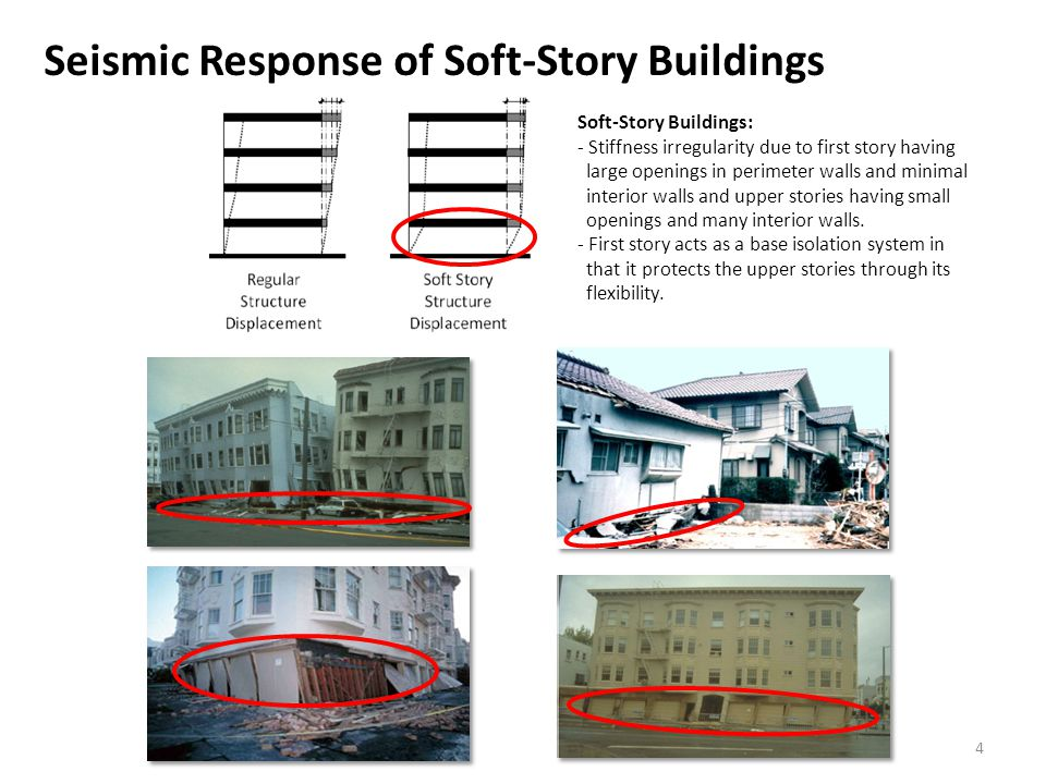 Seismic Response of Soft-Story Buildings Soft-Story Buildings: - Stiffness irregularity due to first story having large openings in perimeter walls and minimal interior walls and upper stories having small openings and many interior walls.