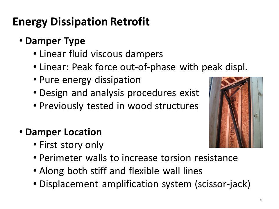 Energy Dissipation Retrofit Damper Type Linear fluid viscous dampers Linear: Peak force out-of-phase with peak displ.