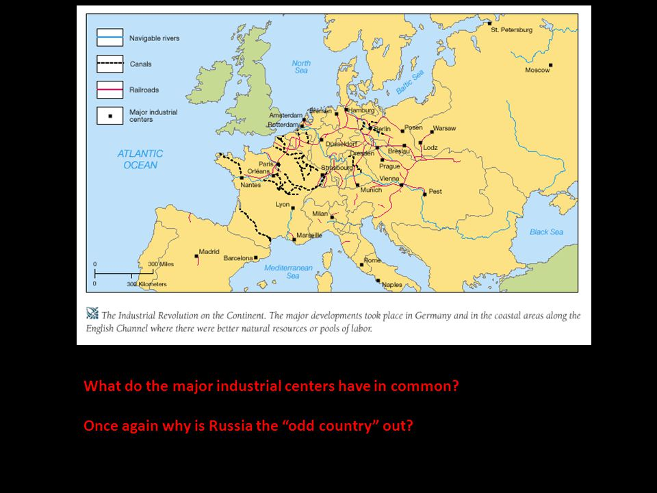 "What do the major industrial centers have in common? Once again why is Russia the ""odd country"" out?"
