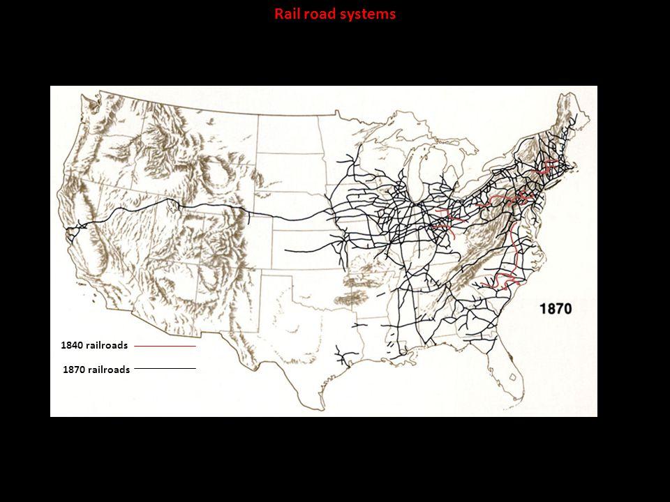 Rail road systems 1840 railroads 1870 railroads