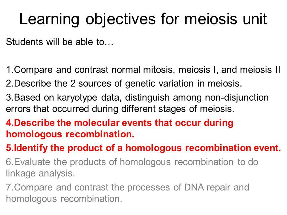 Homologous Recombination Recombinant Gametes Parental Gametes Meiosis, homologous recombination, and genetic variation Adapted from http://geneticssuite.net/node/21
