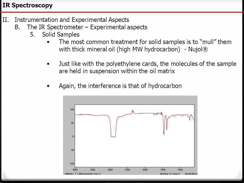 158 IR Spectroscopy II.Instrumentation and Experimental Aspects B.The IR Spectrometer – Experimental aspects 5.Solid Samples The most common treatment