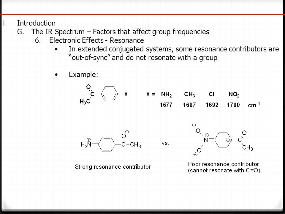 41 IR Spectroscopy I. Introduction G.The IR Spectrum – Factors that affect group frequencies 6.Electronic Effects - Resonance In extended conjugated s