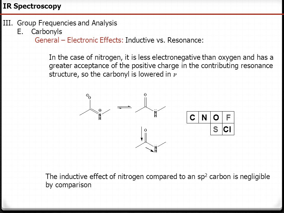 93 IR Spectroscopy III.Group Frequencies and Analysis E.Carbonyls General – Electronic Effects: Inductive vs. Resonance: In the case of nitrogen, it i
