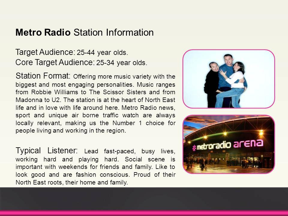 Metro Radio Station Information Target Audience: 25-44 year olds.