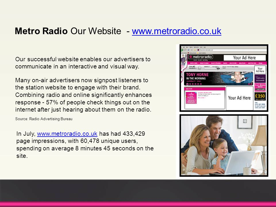 Our successful website enables our advertisers to communicate in an interactive and visual way.