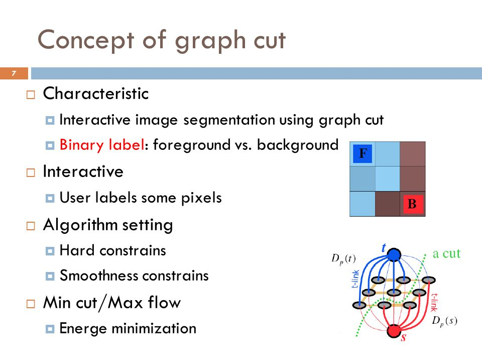 Concept of graph cut 7  Characteristic  Interactive image segmentation using graph cut  Binary label: foreground vs. background  Interactive  Use