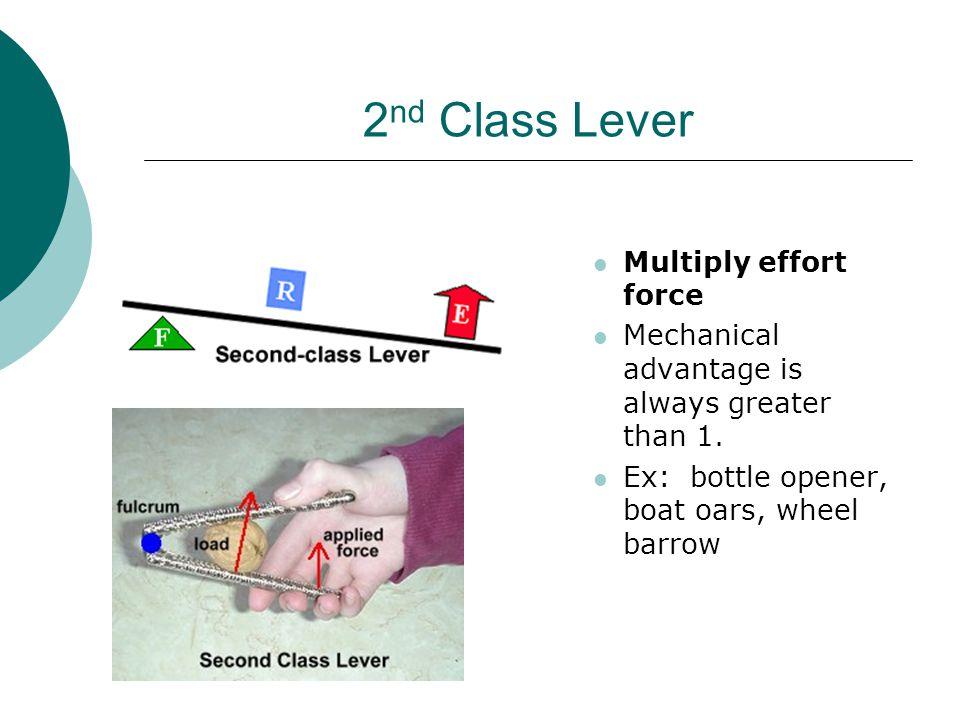 2 nd Class Lever Multiply effort force Mechanical advantage is always greater than 1. Ex: bottle opener, boat oars, wheel barrow