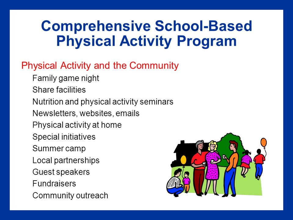 Comprehensive School-Based Physical Activity Program Physical Activity and the Community Family game night Share facilities Nutrition and physical activity seminars Newsletters, websites, emails Physical activity at home Special initiatives Summer camp Local partnerships Guest speakers Fundraisers Community outreach